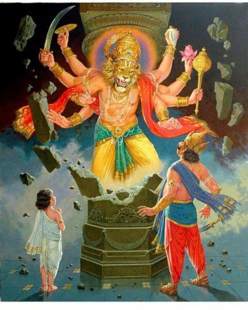 Lord Narasimha appears ....