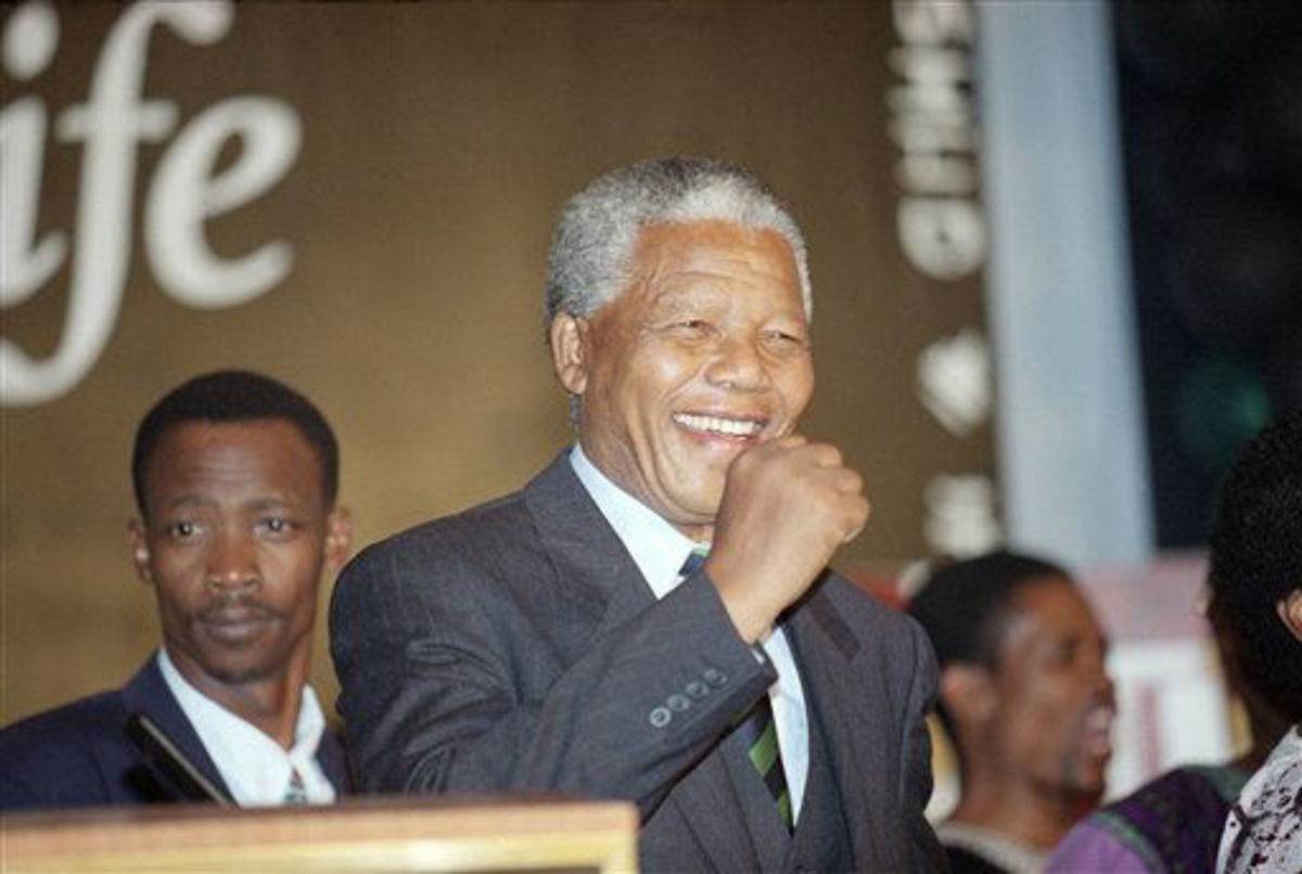 Victory speech in Johannesburg, South Africa 1994 after winning election. The First black President of that country