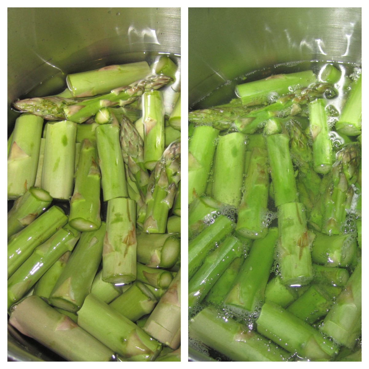 Left: Asparagus places in water uncooked. Right: Asparagus after being boiled. You will be able to tell when it's done because it will turn a vibrant green color.