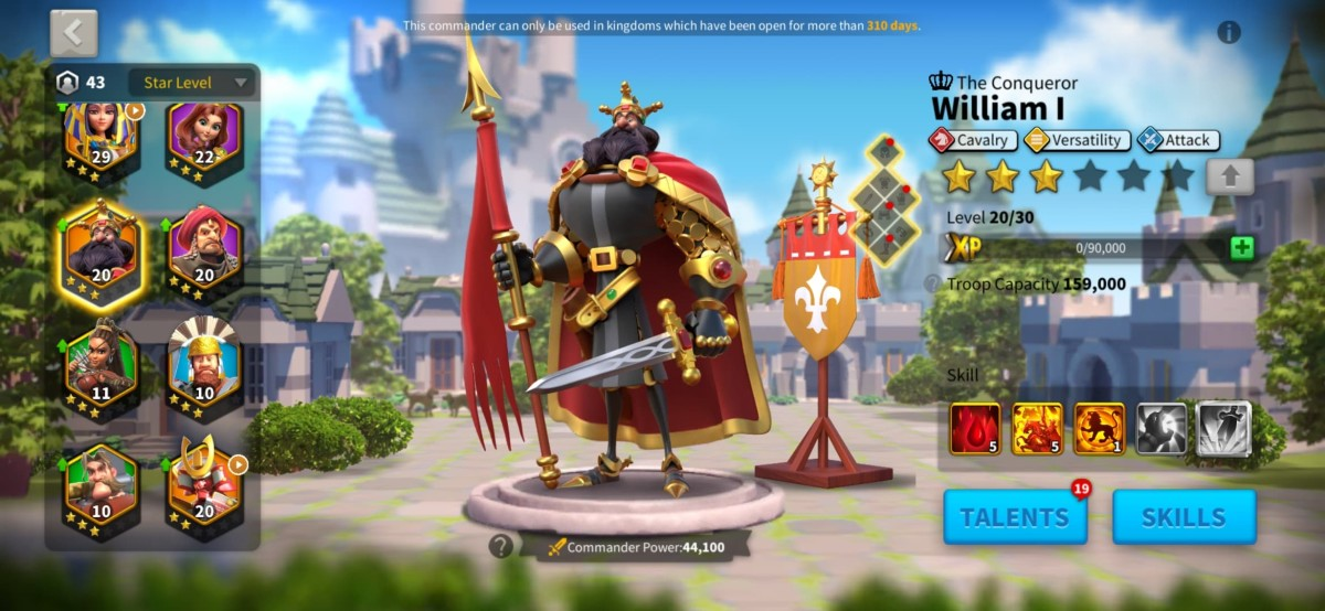 """William I Commander Page in """"Rise of Kingdoms"""""""