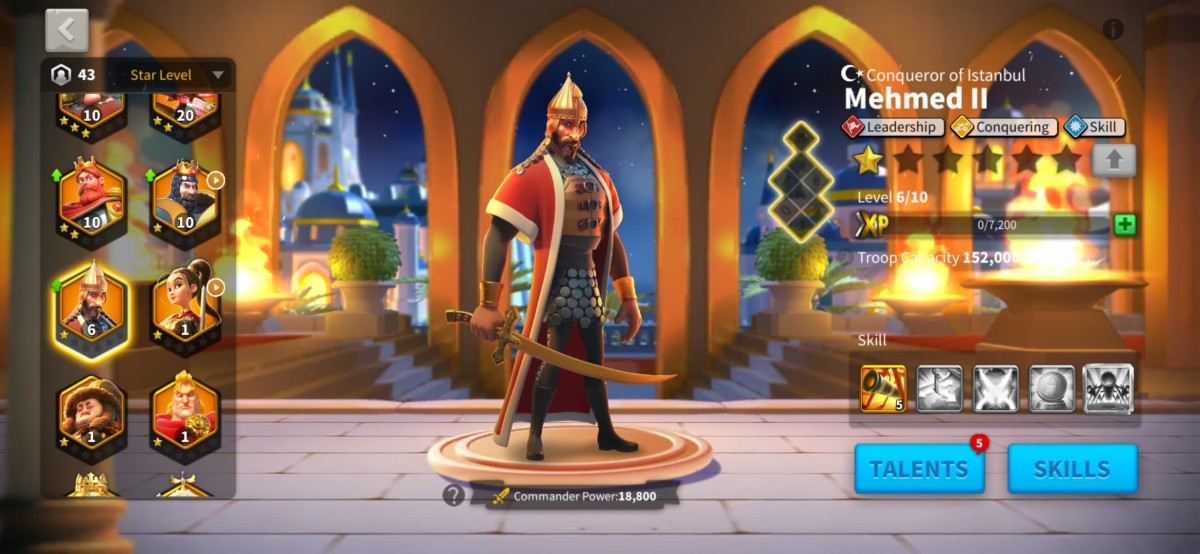 """Mehmed II Commander Page in """"Rise of Kingdoms"""""""