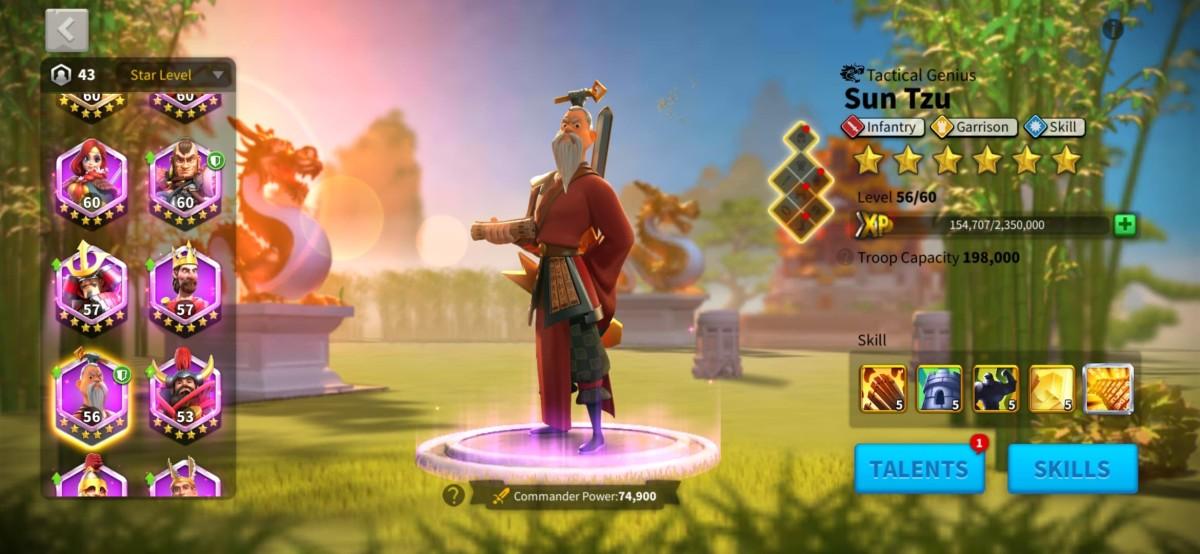 "Sun Tzu Commander Page in ""Rise of Kingdoms"""