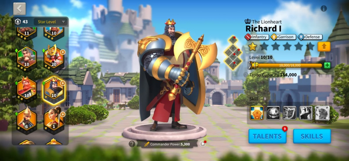 """Richard I Commander Page in """"Rise of Kingdoms"""""""