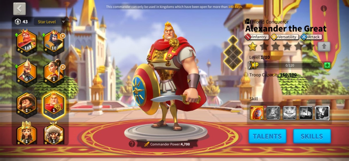 """Alexander the Great Commander Page in """"Rise of Kingdoms"""""""