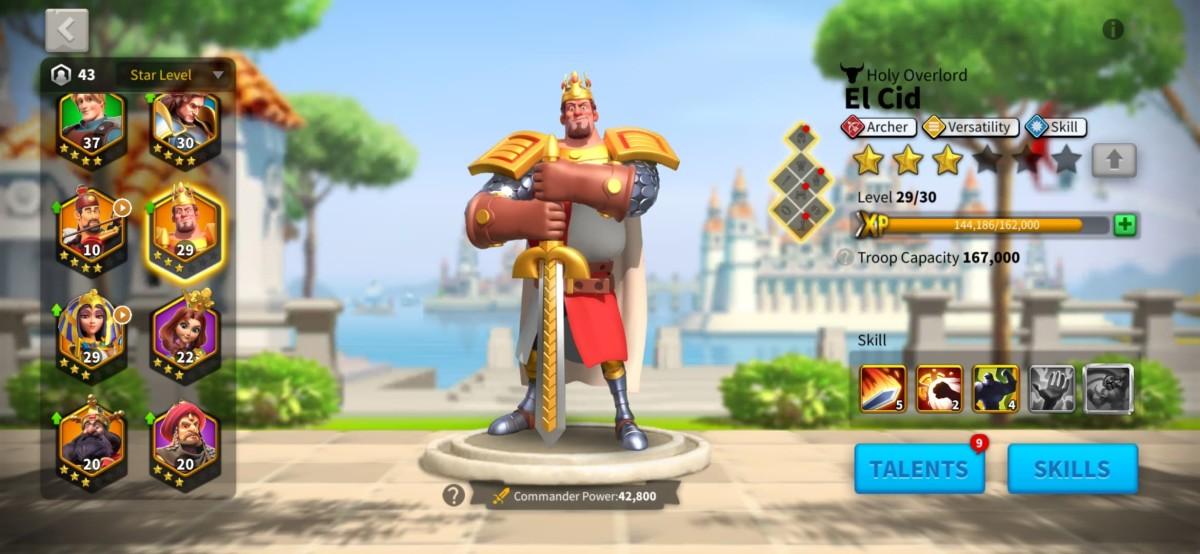 "El Cid Commander Page in ""Rise of Kingdoms"""