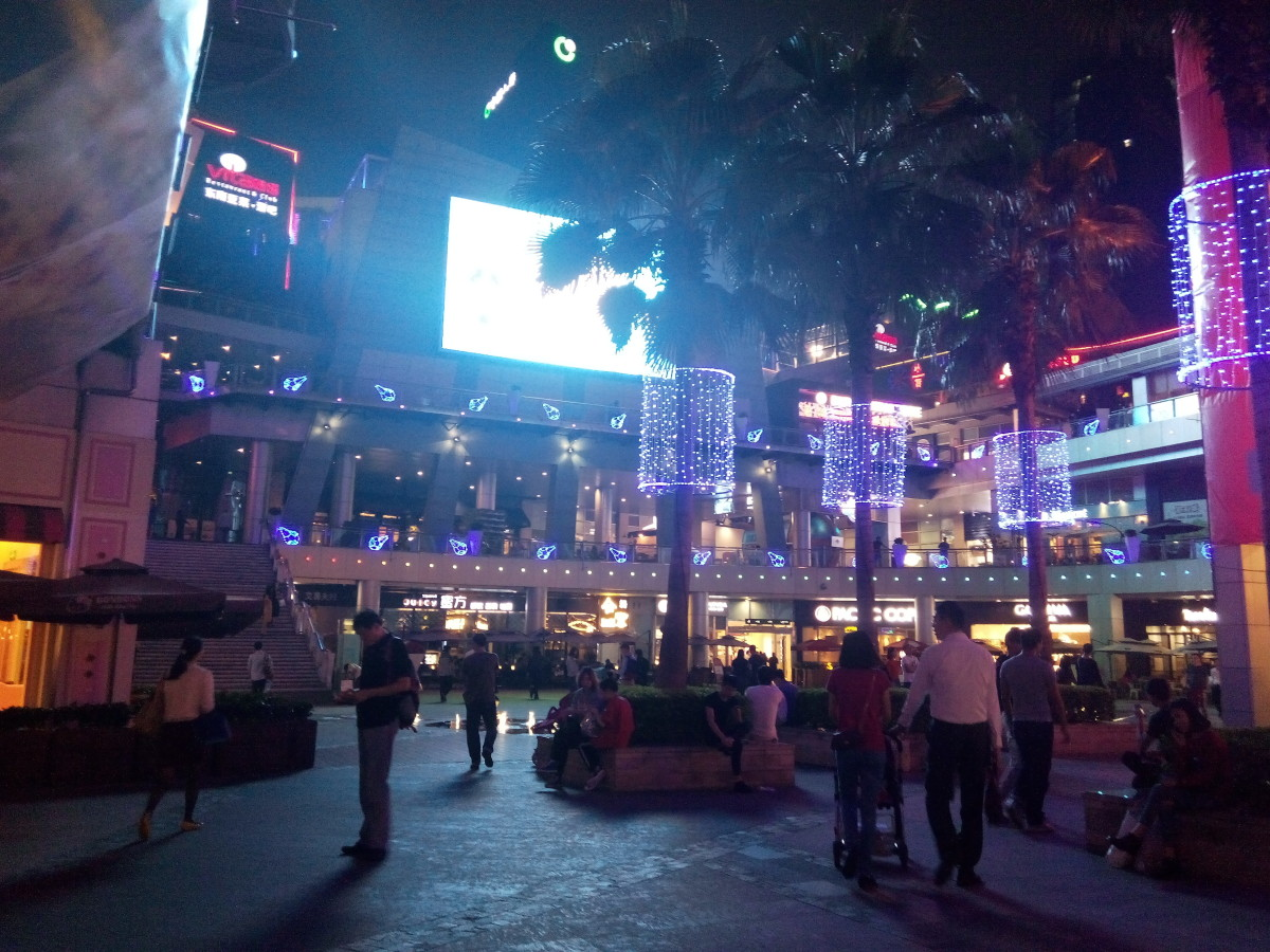 Coco Park Shopping Mall at night. A great place to meet friends or just hang out in a book shop or cafe