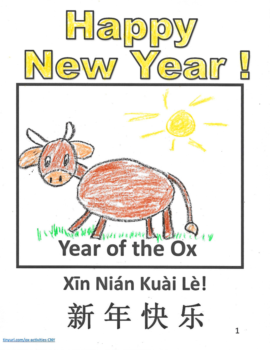 Using a printable template, children can draw their own picture for Year of the Ox.