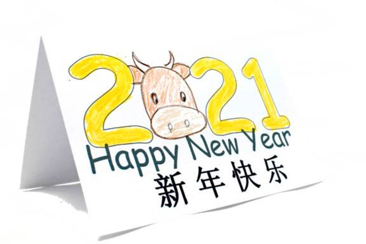 """Using a printable greeting card template,  children can draw their own ox face for the """"0"""" in """"2021"""" and color it in."""