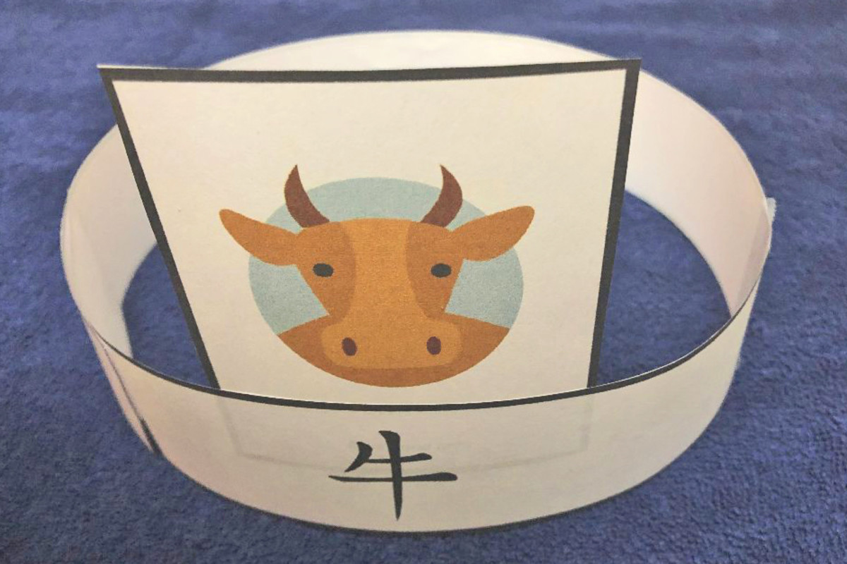 Here is a sample finished headband for Year of the Ox.
