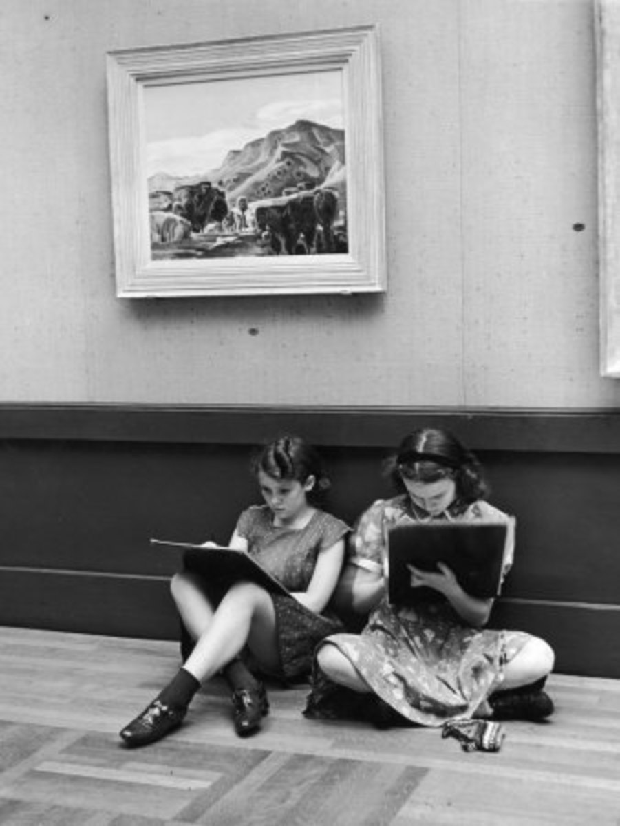 Two Teenagers Sit Against a Wall Sketching in the Toledo Museum of Art