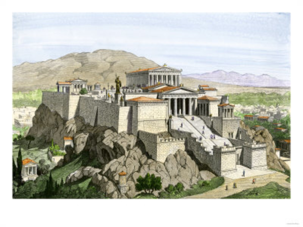 Acropolis of Ancient Athens, Crowned by the Parthenon and a Statue of Athena