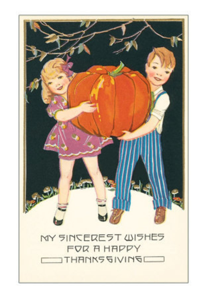 Boy and Girl Carrying a Large Pumpkin