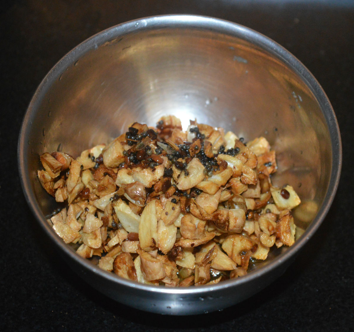Collect the mixture in a bowl.