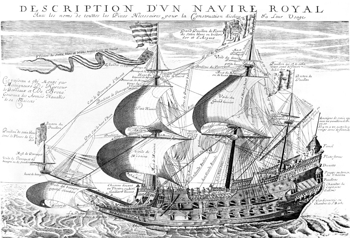 La Couronne, one of the first French ships of the line in the middle of the 17th century.