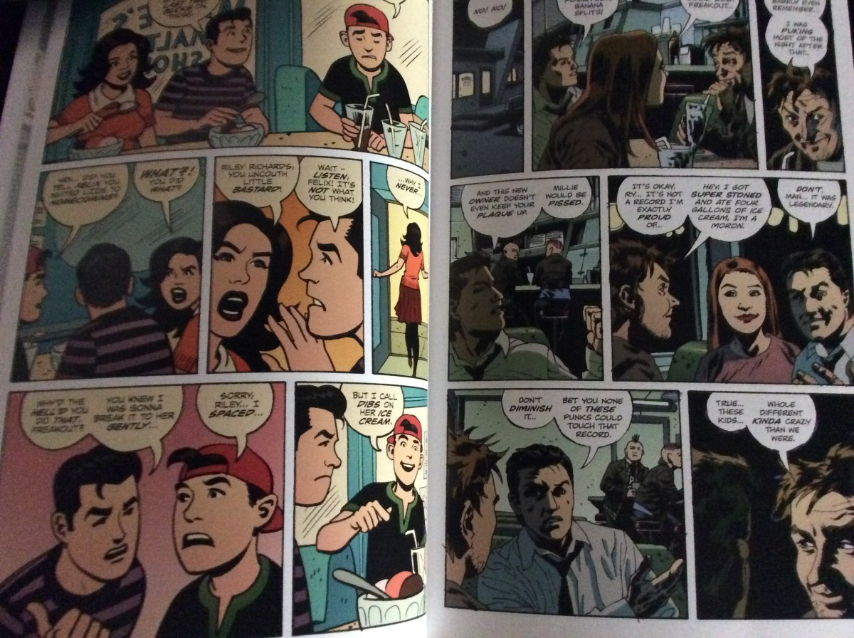 Sample of the two different art styles scene in issue one of Criminal: Last of the Innocent, art by Sean Phillips, colors by Val Staples and Dave Stewart.