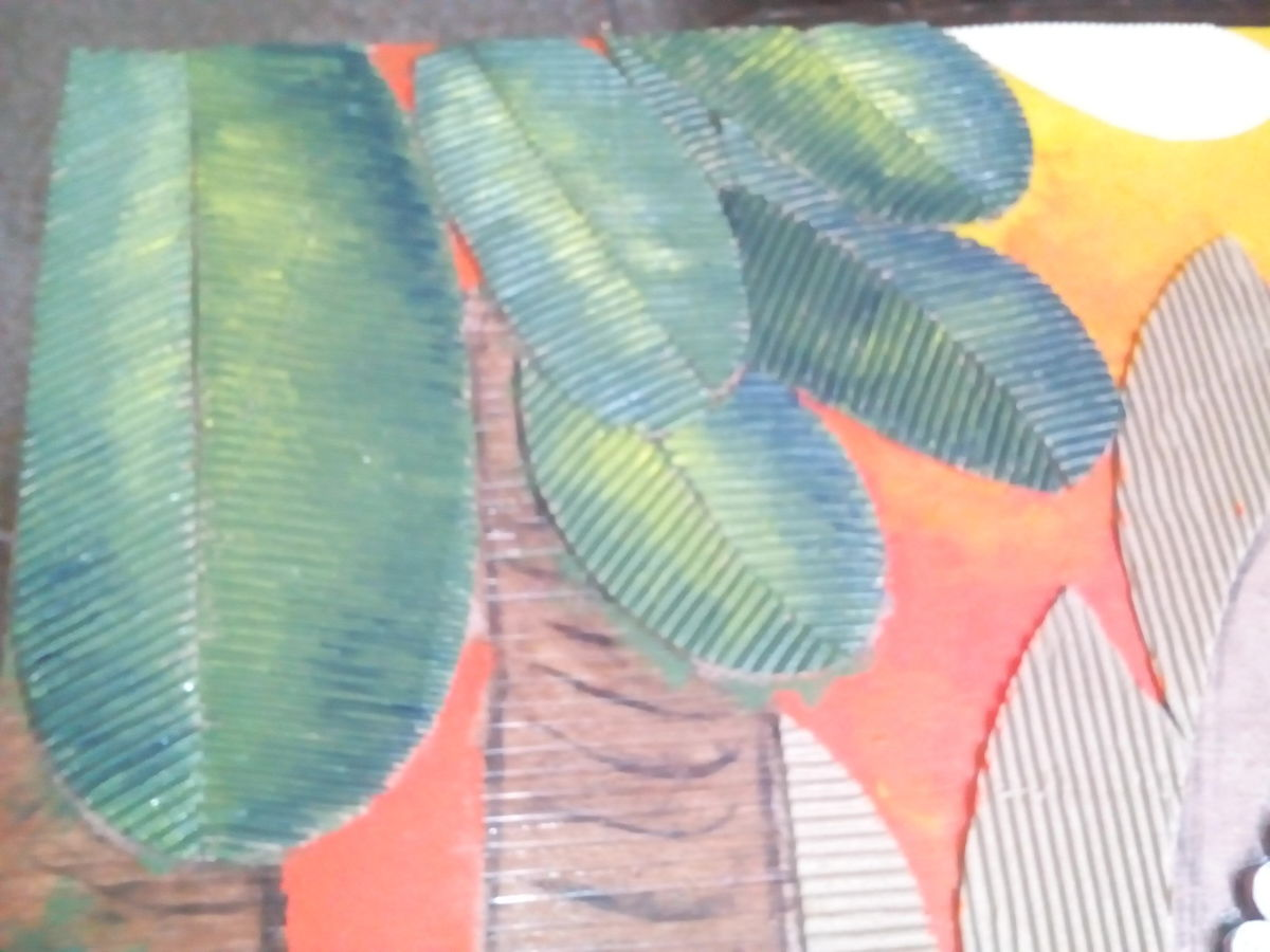 Cardboard leaves painted