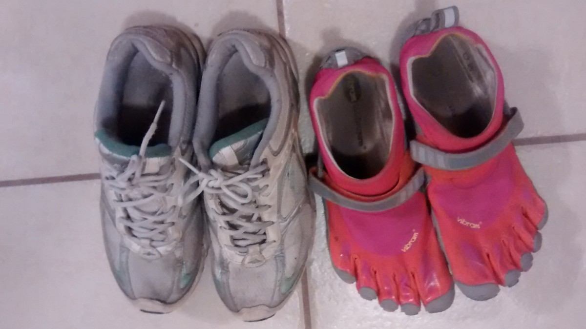 As you can see, next to a pair of minimalist shoes, my traditional running shoes look like bricks. I love the weightless feeling of these shoes.