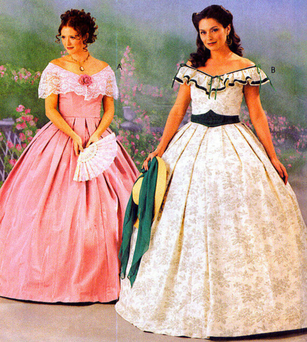 Southern belles in their traditional dresses.