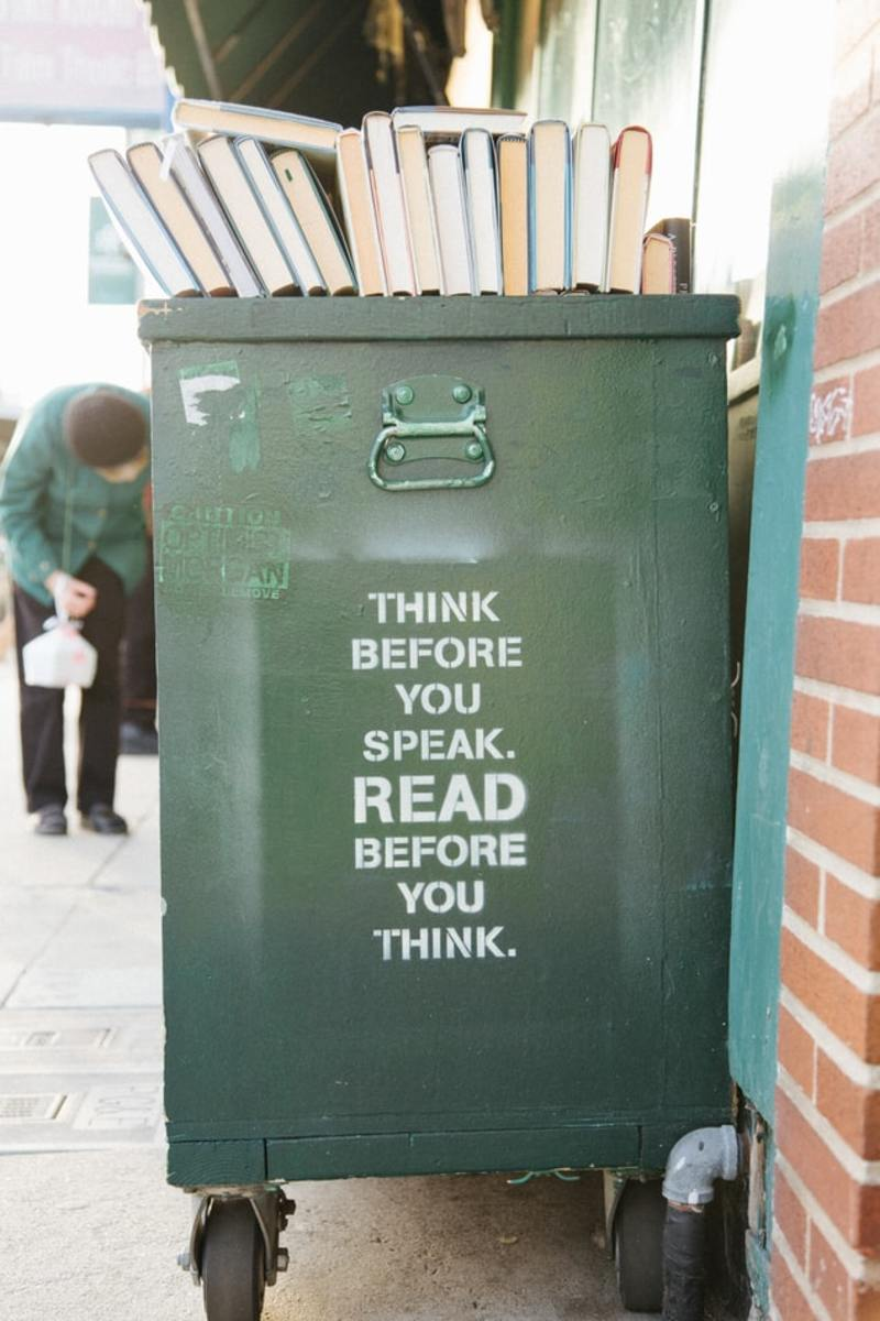 """""""Awesome stencil on a book cart outside of Green Apple Books in San Francisco's Inner Richmond district."""""""