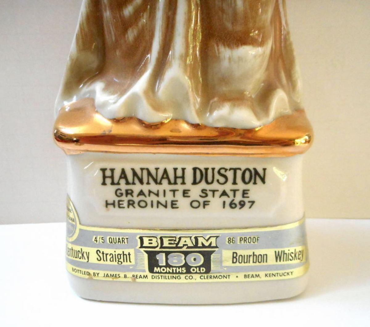 Jim Beam Whiskey Decanter of Hannah Duston