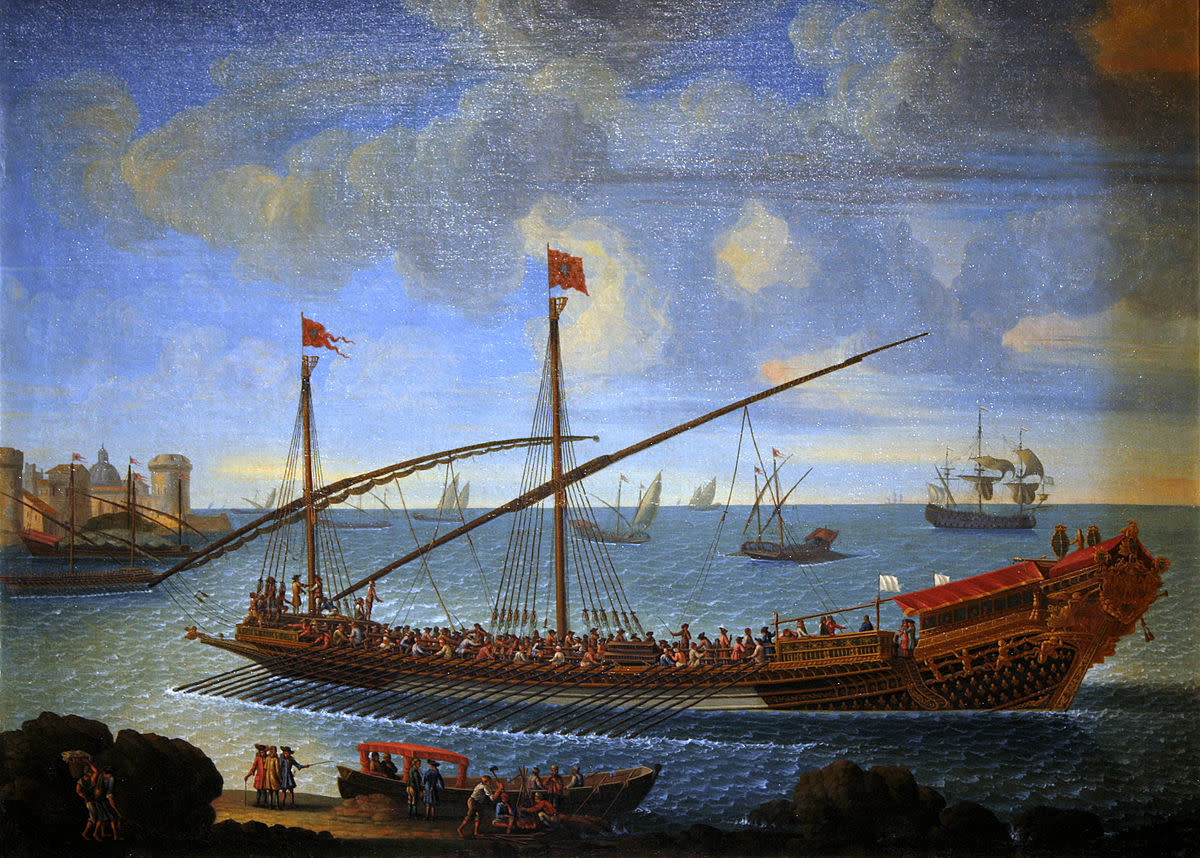 The French galley Réale returning to port