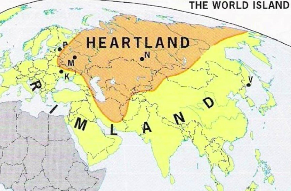 LeDonne divides Eurasia into the Heartland in red, the Coastland in the West, and Monsoon Coastland of China and India.