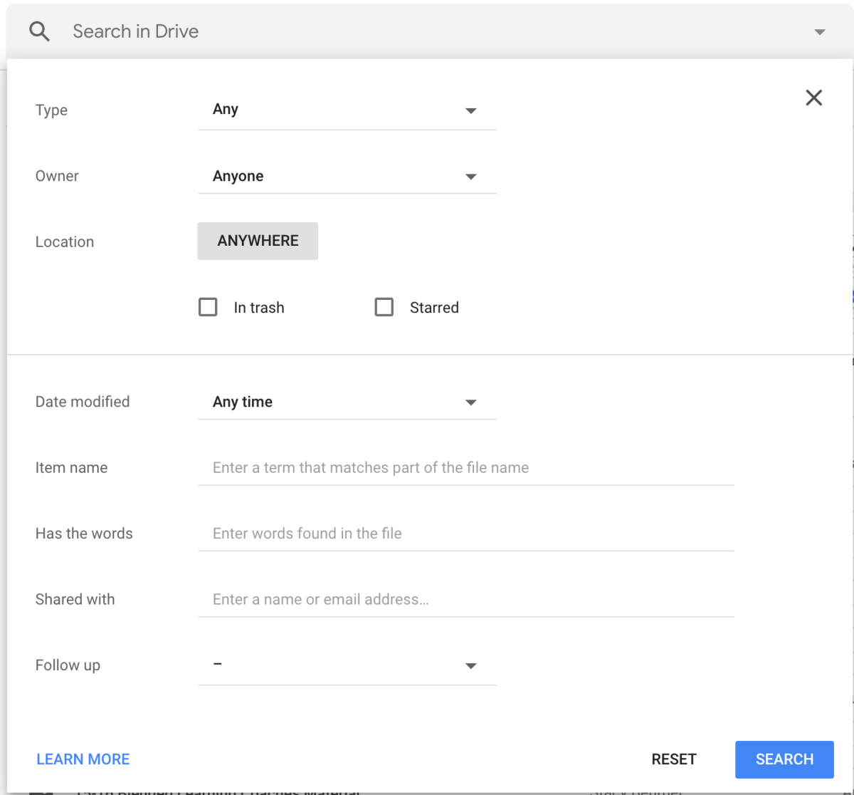 Advanced search options to help you organize your Google Drive search results