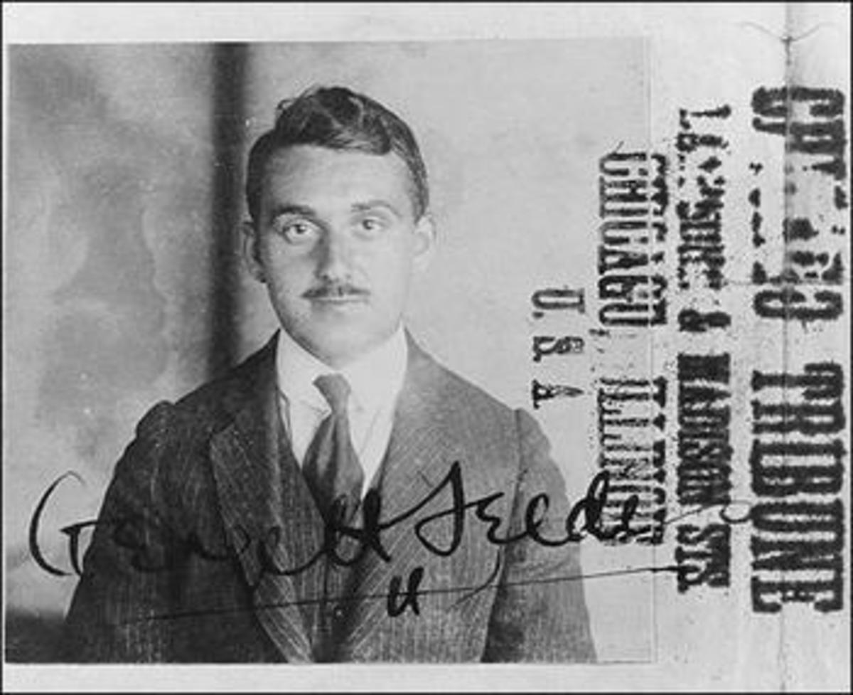 A young George Seldes on a Chicago Tribune file card