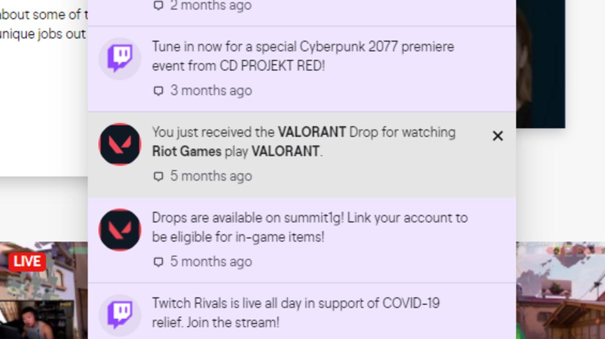 Screenshot of My Personal Drop Notification