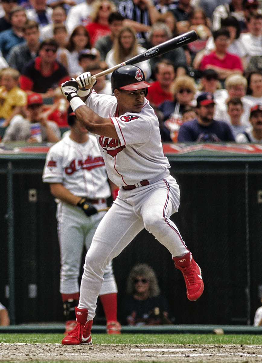 Manny Ramirez was one of several prominent sluggers for the Indians during the late 90s, as was Jim Thome (seen on-deck). Both players are among the 10 most feared power hitters in franchise history.