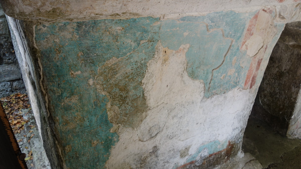 detail of original paint in a fresco inside the Jaguar House, Xelha, QR