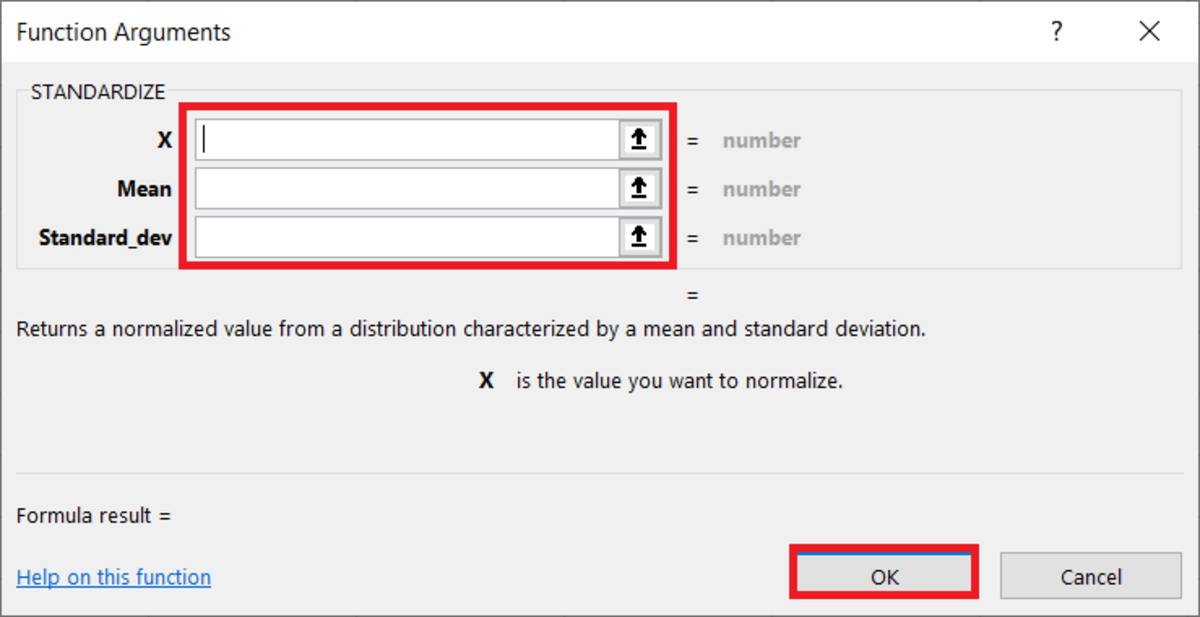 Here in the functional arguments window arguments for the STANDARDIZE function can easily be added. Instructions are given depending on which field the cursor is in so you can understand exactly what type of data needs to be added.