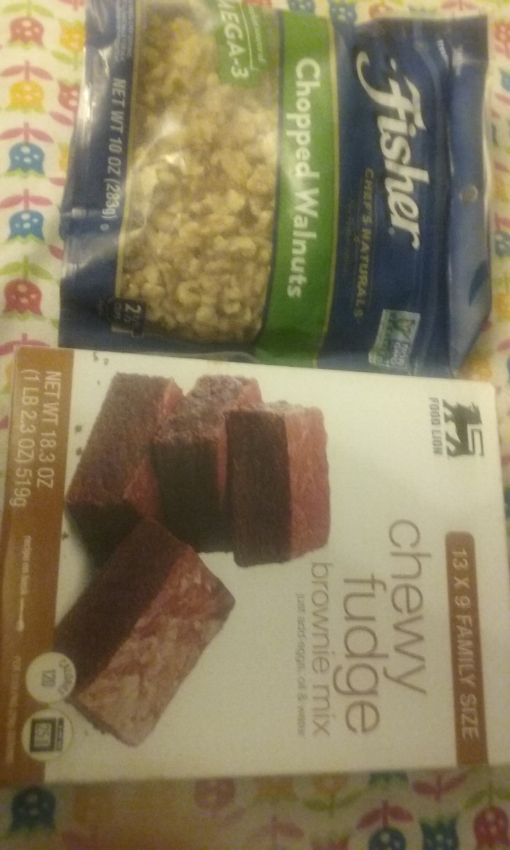 Food Lion brand chewy fudge brownie mix pairs well with walnuts. I like to use Fisher brand chopped walnuts when baking these brownies. At times, I'm able to purchase the Fisher brand chopped walnuts with a $1 off manufacturer's coupon.