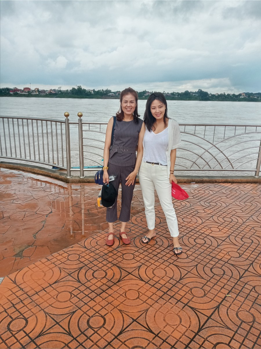 The author's wife (left) and a friend enjoying a walk on the Nong Khai Mekhong Riverside Promenade.