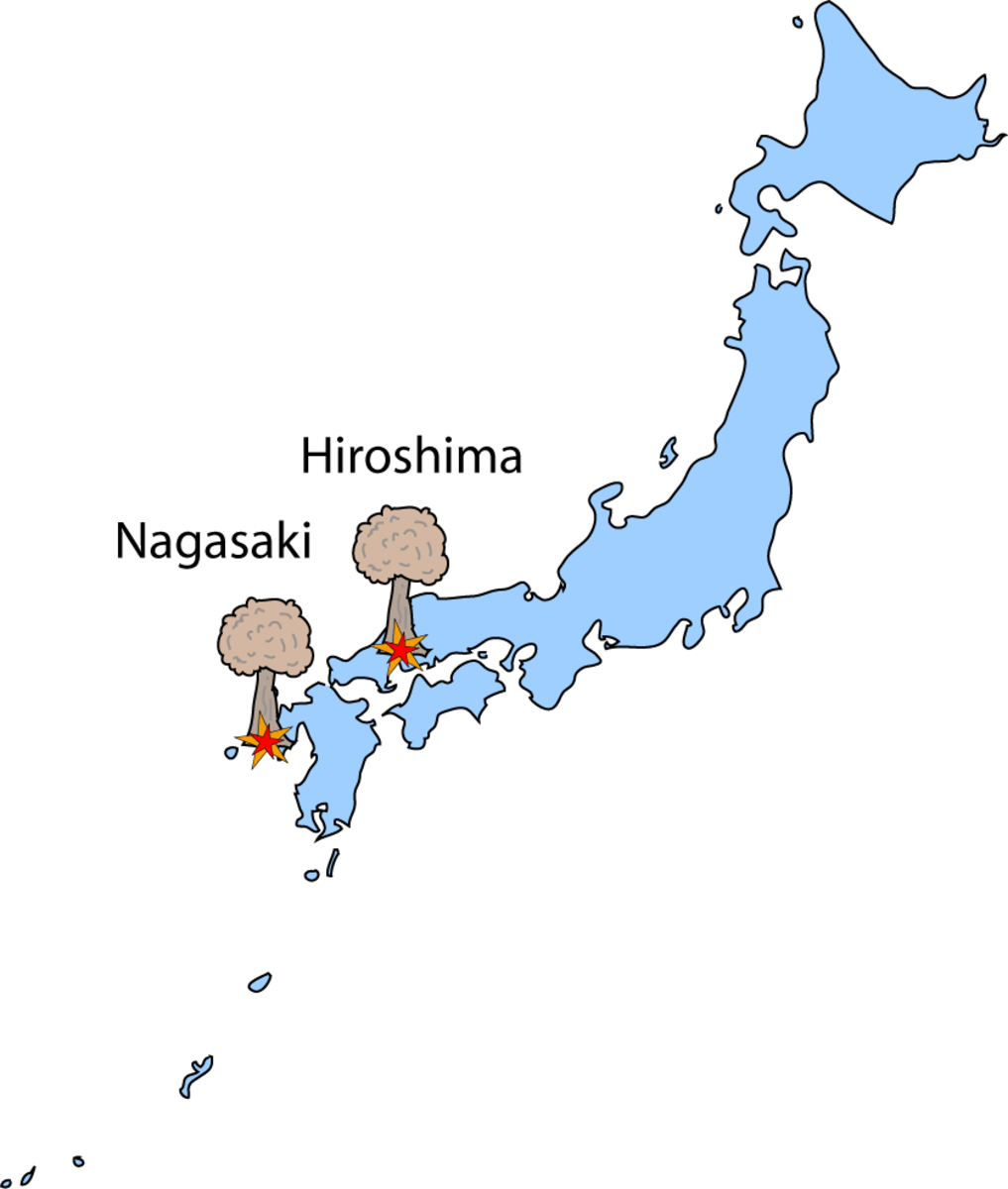 Map showing the locations of Hiroshima and Nagasaki, Japan where the two atomic weapons were employed