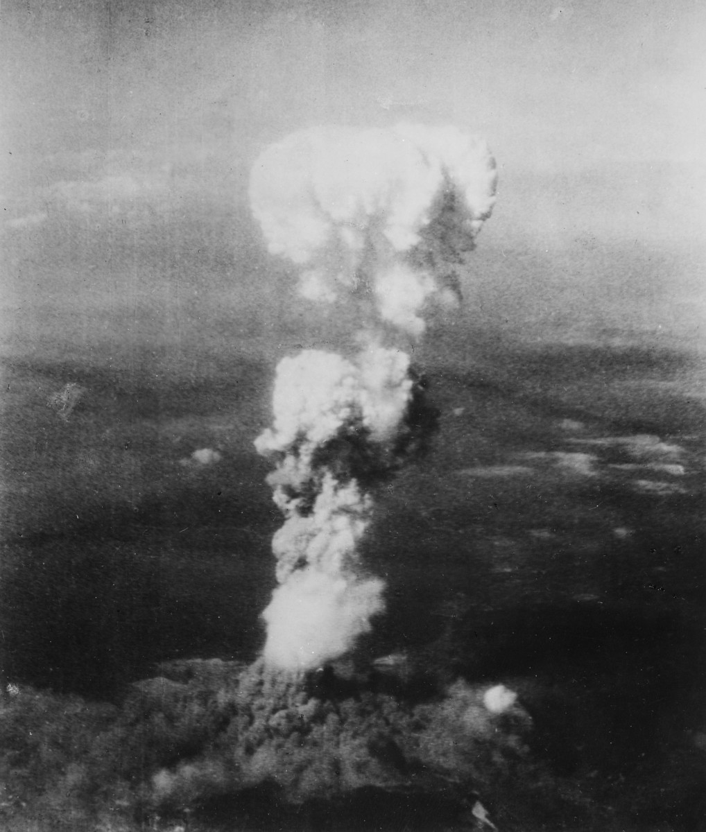 The mushroom cloud over Hiroshima after the dropping of Little Boy