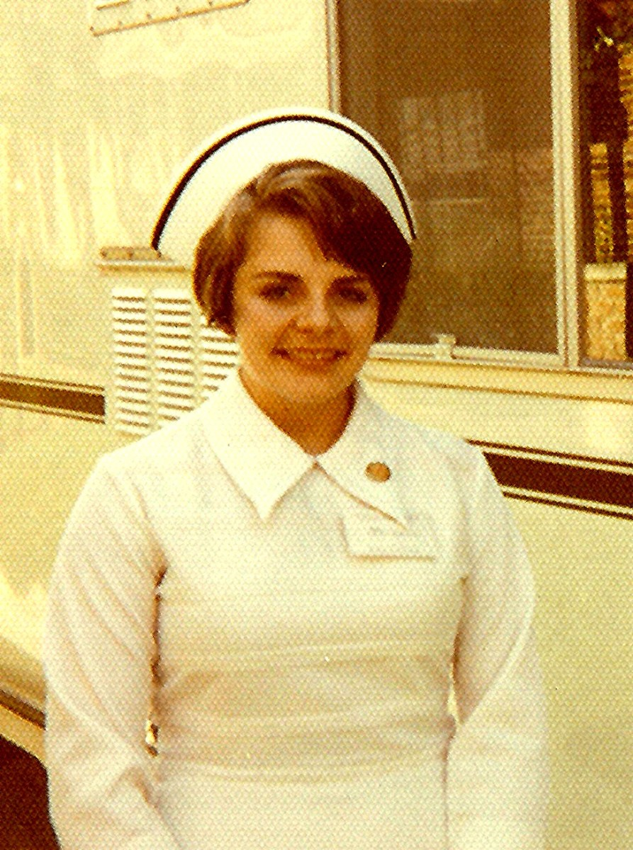 Picture of me back in the days when nurses wore white uniforms and hats.  Many years ago!