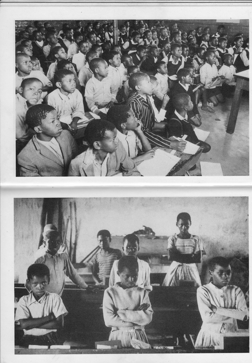 Top: Overcrowded classroom and pupils sitting four in a desk and some on the floor taking lessons. Those whose parents can afford uniform and those  who cannot afford school uniforms. Below, students in a classroom   in discipline form