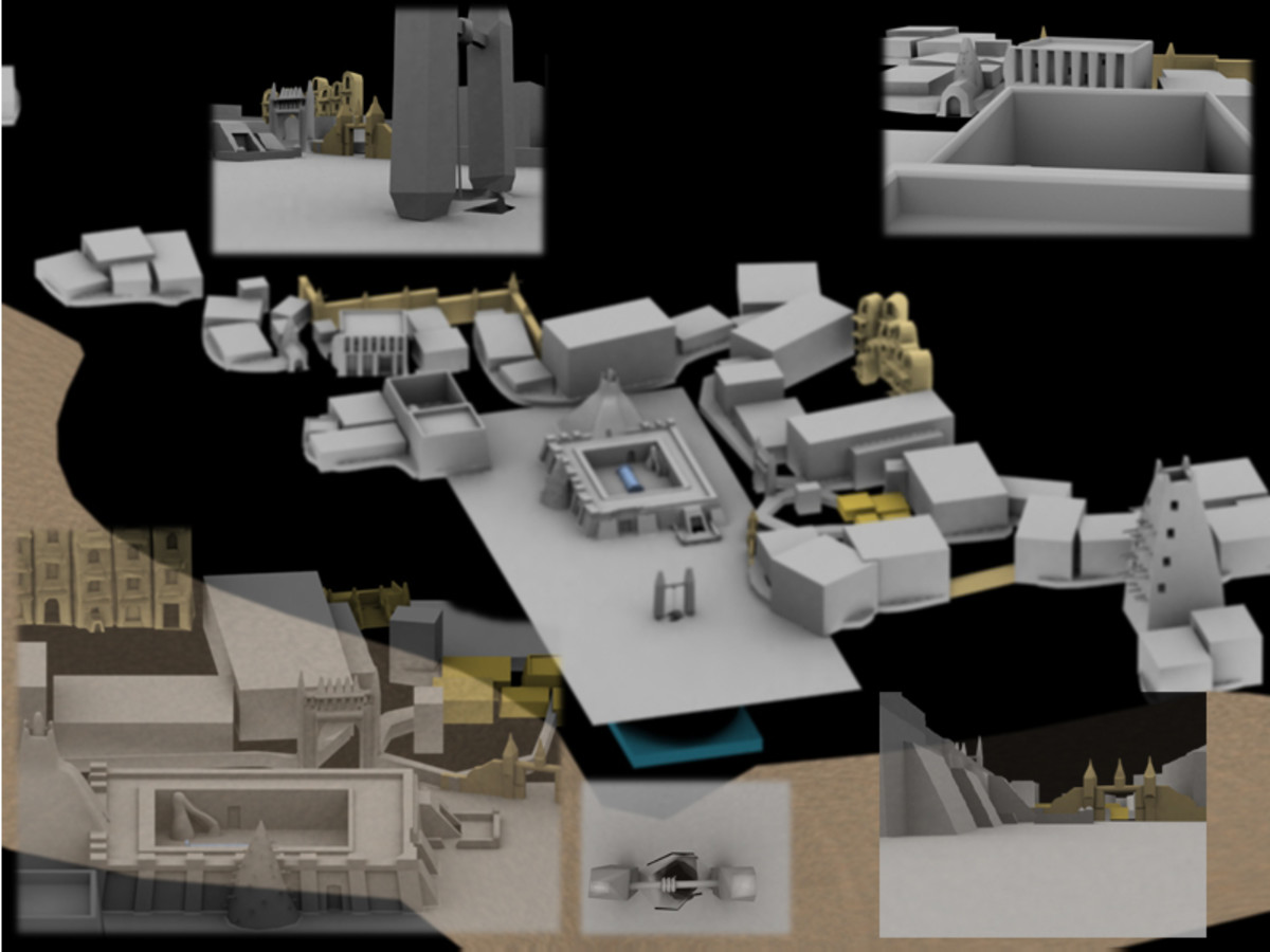 3D model of the forbidden city of Timbuktu Mali, and parts of Sankore University, at the bottom, semi-blocked out.