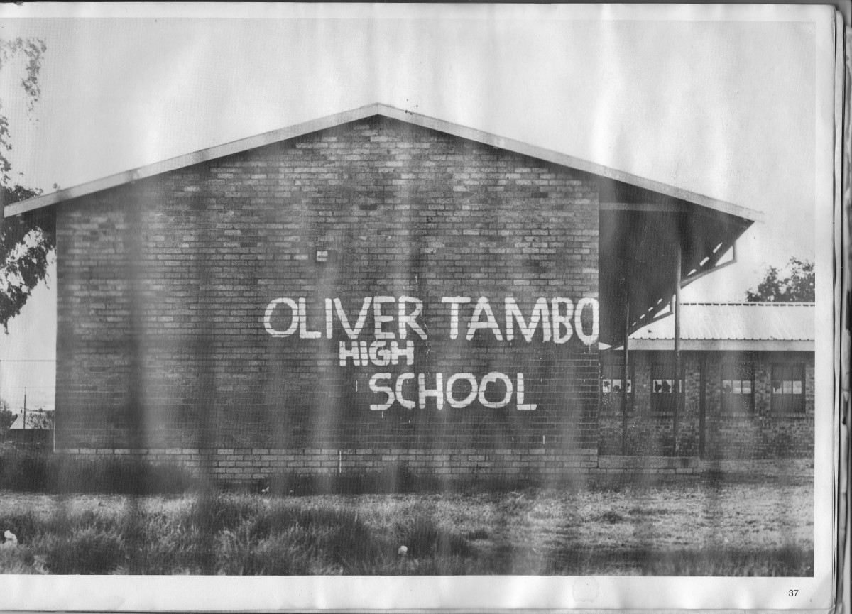 One of the African schools in Soweto being re-named in graffiti by the students in 1976, and they were revolting against apartheidized schools controlled tightly by The Bantu Education Department.