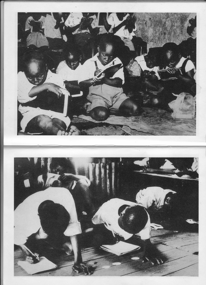 Top: Students in an overcrowded classroom, a few seated, and some sitting and writing on the floor, or holding their books so that they could write. Bottom: Students writing on the floor,  while some others holding their books on their knees.