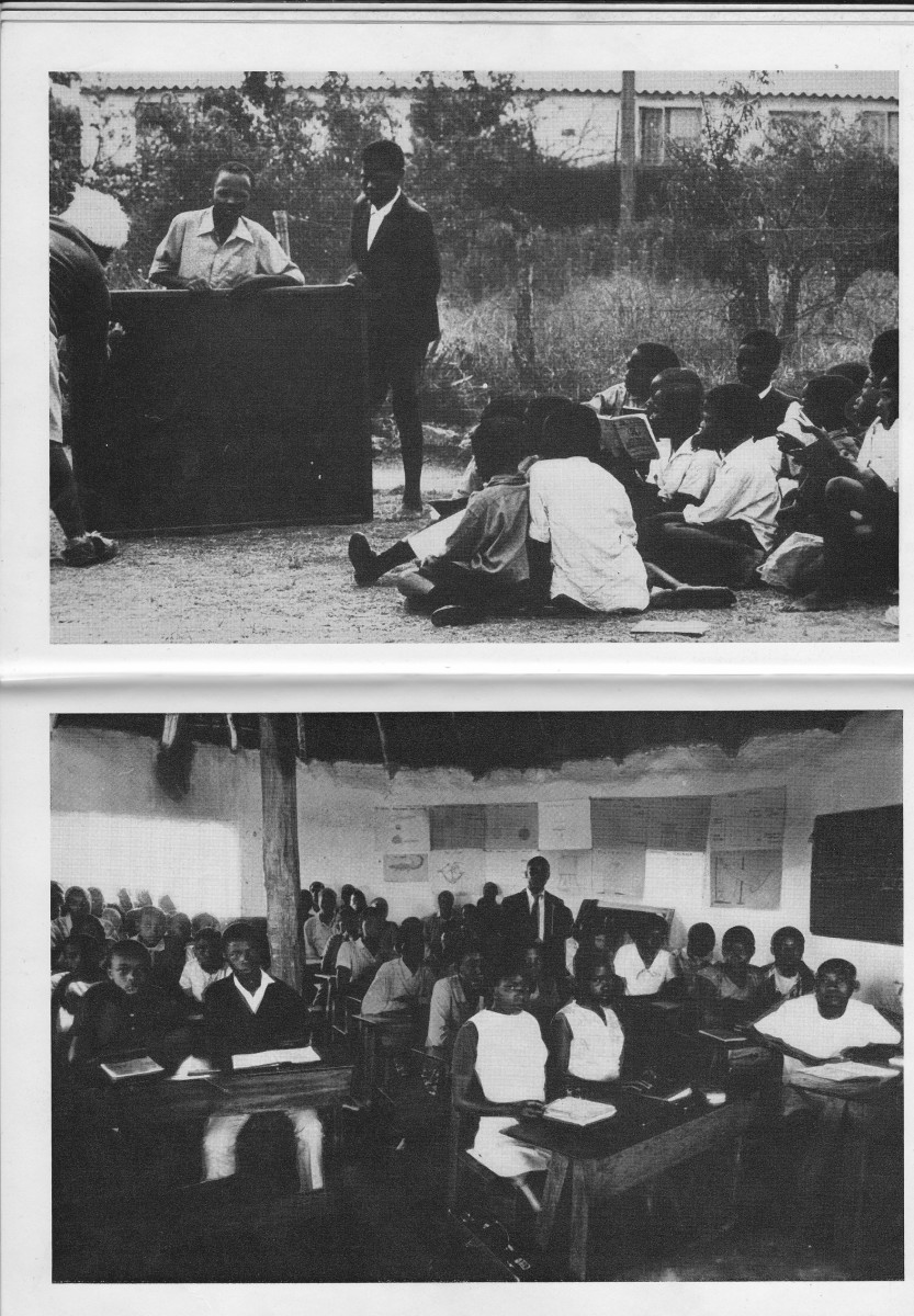 Top: Student sitting outside on the dirt, and the teacher with his desk outside, teaches students from a hand held Blackboard put on the ground,  . Bottom: Student classroom in a Hut and home-made desks.