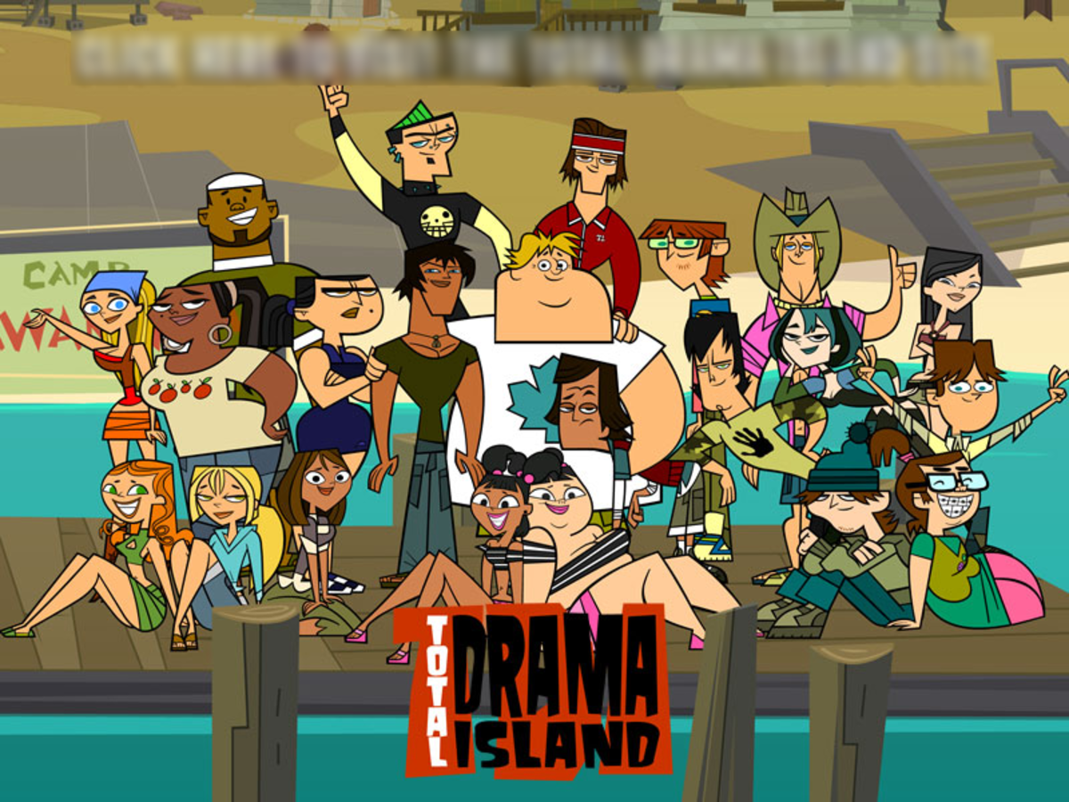 Left to right, first row: Izzy, Bridgette, Courtney, Katie, Sadie, Ezekiel, and Beth.  Second Row: Lindsay, LeShawna, Eva, Justin, Owen, Noah, Trent, Gwen, and Cody.  Third Row: DJ, Duncan, Tyler, Harold, Geoff, and Heather.