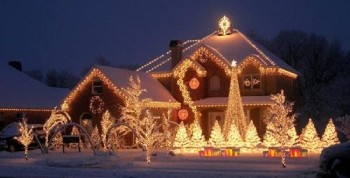 Beautifully lit home Christmas decorations