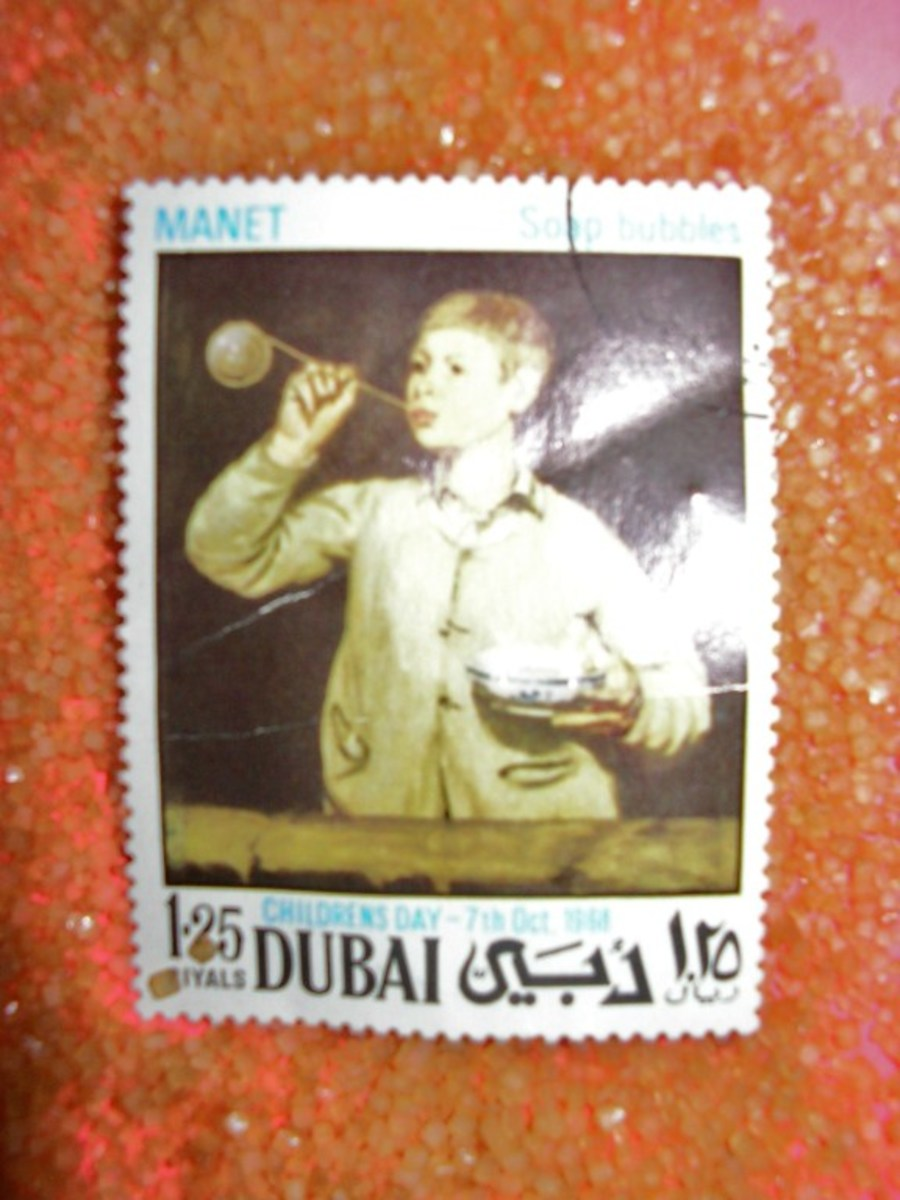 Would you allow me to present to you the classic children's day stamp of a child blowing soap bubbles on a bed of sugar?