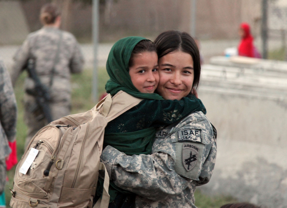 The International Security Assistance Force drops off school supplies for children in Afghanistan.