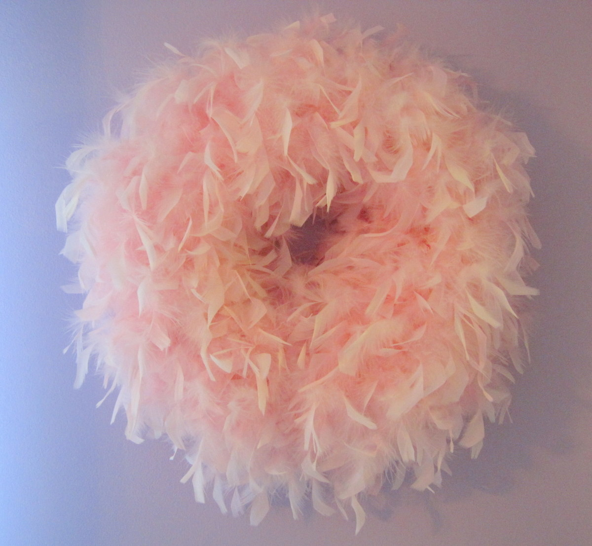 Pink Boa Feather Wreath