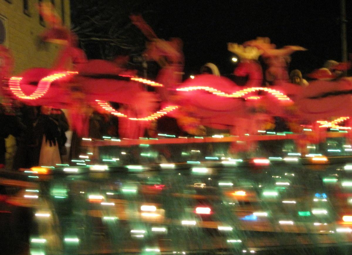 Santa's reindeer taking off!