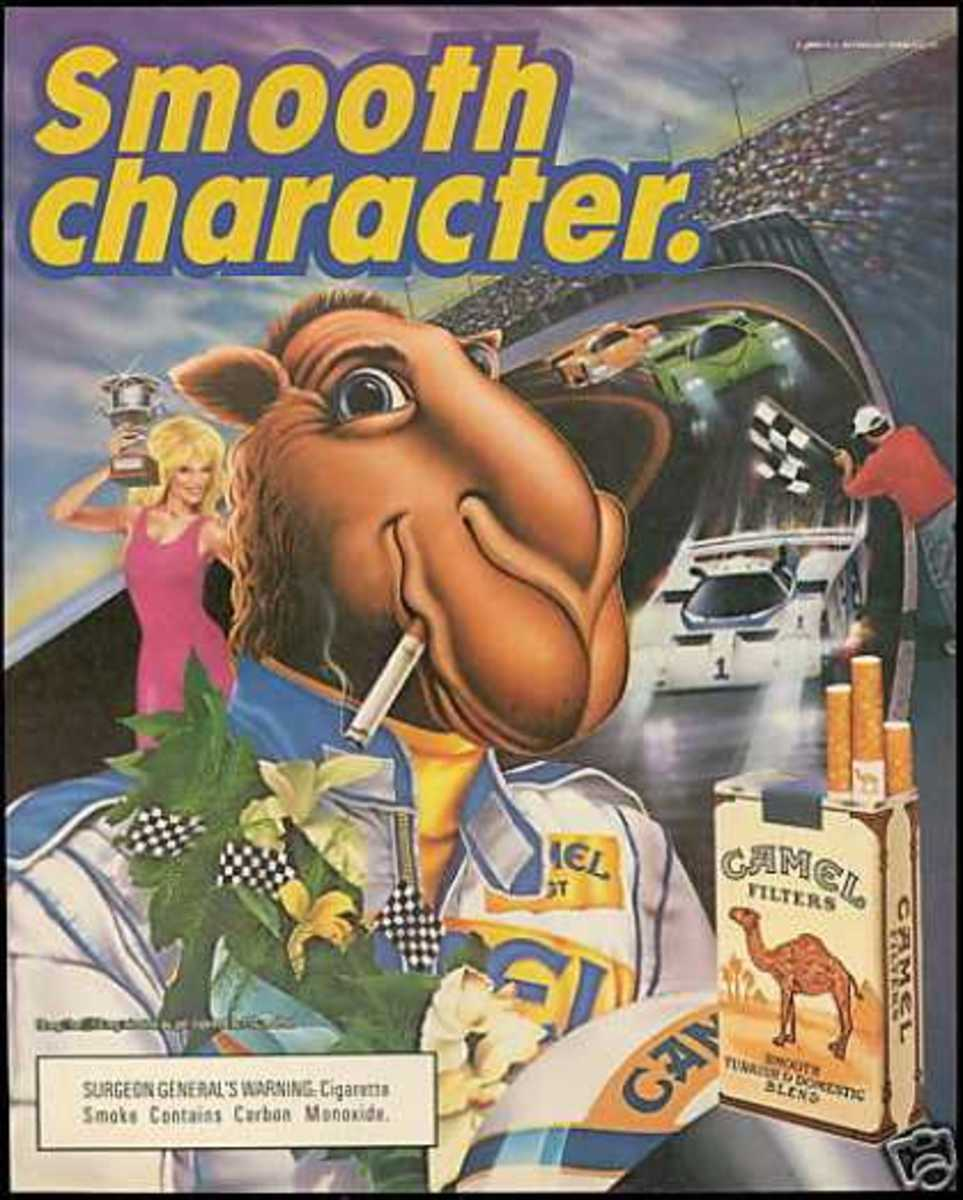 Joe Camel, the old mascot of Camel Cigarettes.  The cigarette company claimed that Joe Camel ads weren't targeting kids.  Funny, I remember all the cool boys smoking Camel when I was a kid.