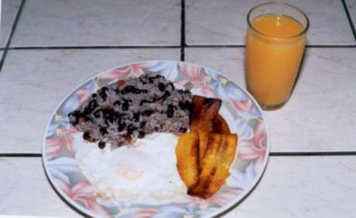 Gallo pinto made with black beans, served with maduro.